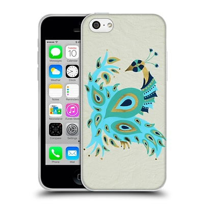 OFFICIAL CAT COQUILLETTE BIRDS Peacock Gold Soft Gel Case for Apple iPhone 5c