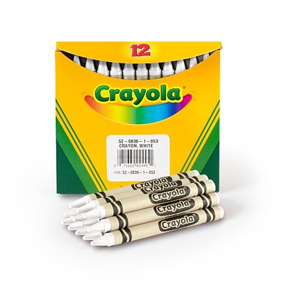 Crayola Single-Color Refill Crayons, White, 12 Per Box (52-0836-053)
