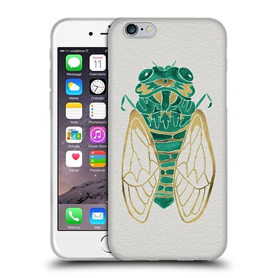 OFFICIAL CAT COQUILLETTE INSECTS Cicada Gold Green Soft Gel Case for Apple iPhone 6 / 6s