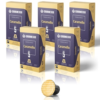 Gourmesso Coffee Nespresso Caramel Espresso Coffee Capsules, Dark Roast, 50/Bundle (41104)