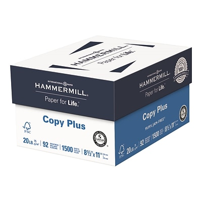 Hammermill Copy Plus 8.5 x 11 Copy Paper, 20 lbs., 92 Brightness, 500 Sheets/Ream, 3 Reams/Carton (105040)