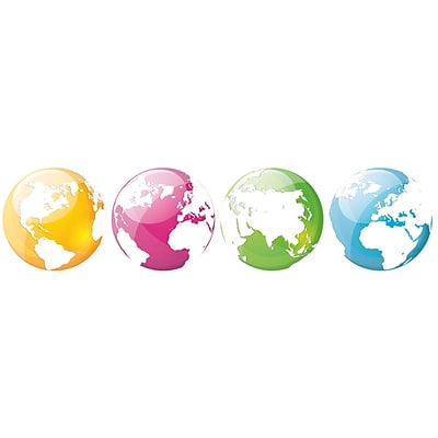 Paperflow Office Deco Wall Transfers, Colorful Globes 6.5 4 Pack (13101)