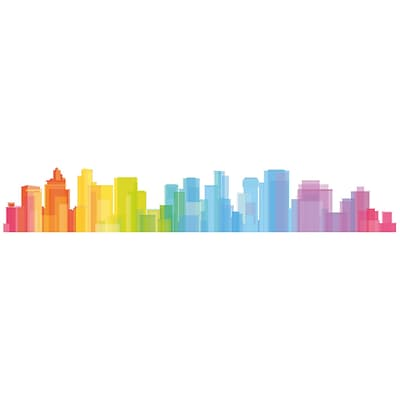Paperflow Office Deco Wall Transfers Colorful Skyline 52 x 8.5 (14200)