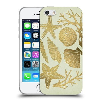OFFICIAL CAT COQUILLETTE SEA Seashells Gold Soft Gel Case for Apple iPhone 5 / 5s / SE