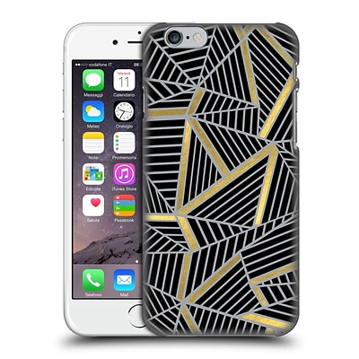 OFFICIAL PROJECT M ABSTRACT LINES TWO TONE Black Gold And Grey Hard Back Case for Apple iPhone 6 / 6s