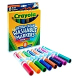 Crayola Washable Ultra Clean Broad Line Markers, Assorted Colors, 8/Box (58-7832)