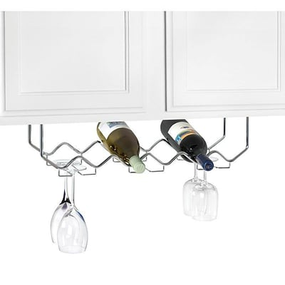 Spectrum® 6-Bottle Under the Cabinet Wine Rack, Chrome (49170)
