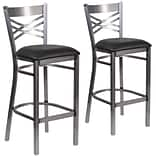 HERCULES Series Clear Coated X Back Metal Restaurant Barstool 2 Pack (2XU6F8BCLBBLKV)