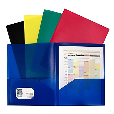 C-Line, Assorted Two Pocket Poly Portfolios Without Prongs Pack of 10, 8.5 x 11 paper size (CLI32950)