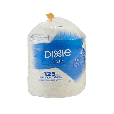 Dixie Light-Weight Paper Bowl by GP PRO, 12 oz., White, 125/Pack (DBB12W)