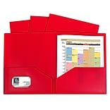 C-Line, Red Two Pocket Poly Portfolios Without Prongs Pack of 10, 8.5 x 11 paper size (CLI32954)