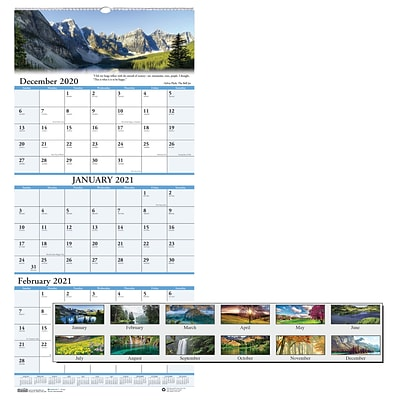 2021 House of Doolittle 12 1/4 x 26 Three-Month Vertical Wall Calendar, Earthscapes Scenic, Multicolor (HOD3638)
