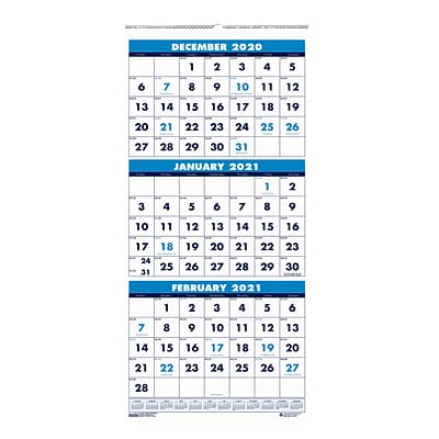 January 8 x 17 Inches December House of Doolittle 2021 Wall Calendar Three-Month Vertical HOD3646-21