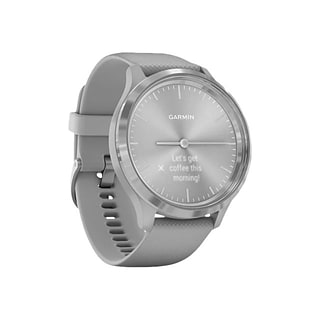 Garmin vívomove 3 Hybrid Smartwatch, Silver Stainless Steel Bezel with Powder Gray Case and Silicone