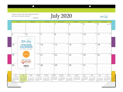 2020 2021 Blue Sky 17 X 22 Desk Pad Calendar Teacher Stripes Multicolor 105643 A21 Quill Com