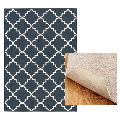 Mohawk Home Soho Fancy Trellis Navy Rug and Rug Pad Set (797786014450)