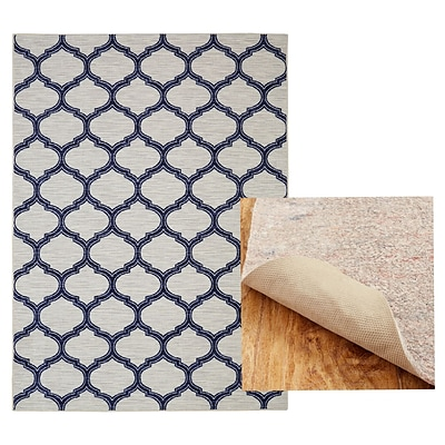 Mohawk Home Woodbridge Glenn Navy Rug and Rug Pad Set (797786014566)