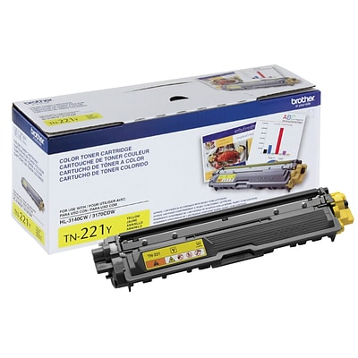 Brother TN-221Y Yellow Toner Cartridge, Standard