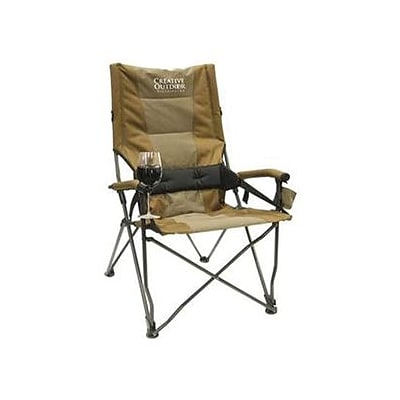 Creative Outdoor Distributor High Back Folding Chair With Hard Arms, Brown/Tan/Black