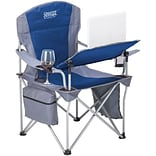Creative Outdoor Distributor i-Chair Aluminum Frame Folding Chair With Tilt Adjust Table, Blue/Gray,