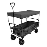 Creative Outdoor Distributor 23.5 Folding Wagon With Removable Canopy, Canvas Fabric/Steel Frame, G