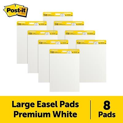 Post-it® Super Sticky Easel Pad, 25 x 30, White, 8/Pack (559-VAD-8PK)