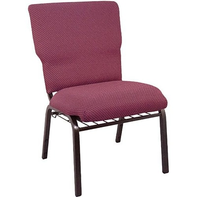 Advantage 21 Patterned Burgundy Church Chair With Book Rack And Card Pocket Fully Assembled, Pack of 20 (EPCHT-100-20)
