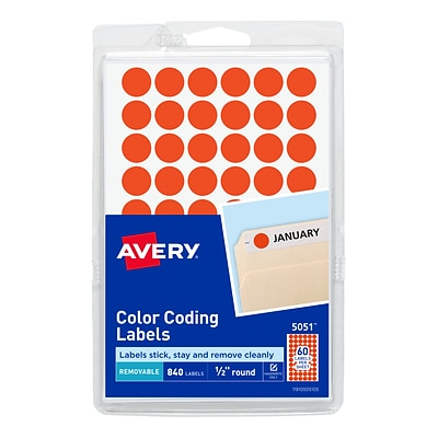 Avery Hand Written Color Coding Labels, 0.5Dia., Neon Red, 60/Sheet, 14 Sheets/Pack (5051)