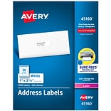 Avery White Address Labels, Sure Feed Technology, Laser/Inkjet, Permanent, 1 x 2-5/8, 7,500 Labels