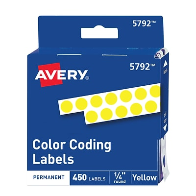 Avery Hand Written Color Coding Labels, 1/4 Dia., Yellow, 450/Sheet, 1 Sheet/Pack (5792)