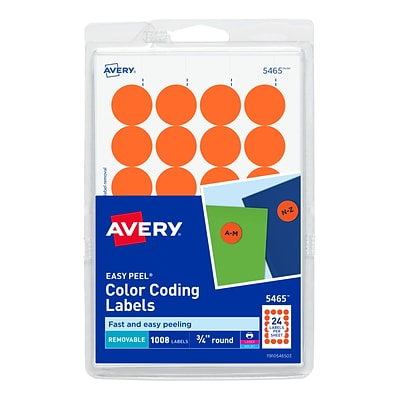 Avery Laser/Inkjet Identification & Color Coding Labels, 0.75Dia., Orange, 24/Sheet, 42 Sheets/Pack (13951/5465)