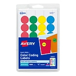 Avery® Laser/Inkjet Round Print-and-Write Color-Coding Labels, Assorted Colors, 1008/Pack (13958/547