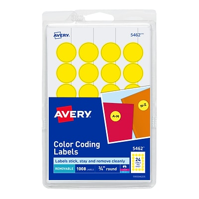 Avery Laser/Inkjet Color Coding Labels, 3/4 Dia., Yellow, 24/Sheet, 42 Sheets/Pack (5462)