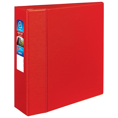 Avery Heavy-Duty 4 3-Ring Non-View Binder, Red (79584)