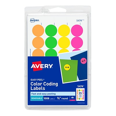 Avery Easy Peel Laser Color Coding Labels, 3/4 Dia., Assorted Colors, 24 Labels/Sheet, 42 Sheets/Pack (5474)