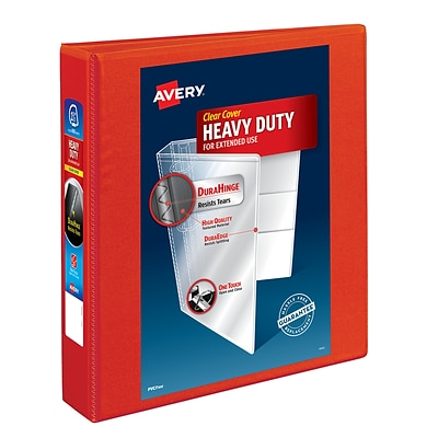 Avery Heavy-Duty 1.5 3-Ring View Binder, Red (79171)