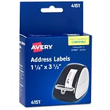 Avery Thermal Multipurpose Labels, 1 1/8 x 3 1/2, Clear, 120 Labels/Roll, 1 Roll/Pack (4151)