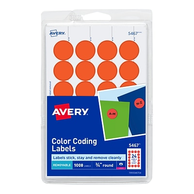 Avery Laser Color Coding Labels, 3/4 Dia., Neon Red, 24 Labels/Sheet, 42 Sheets/Pack (5467)