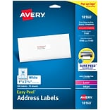 Avery Easy Peel Laser/Inkjet Address Labels, 1 x 2 5/8, White, 30 Labels/Sheet, 10 Sheets/Pack (18