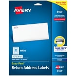 Avery Easy Peel Inkjet Address Labels, 1/2 x 1 3/4, 80/Sheet, 25 Sheets/Pack (8167)