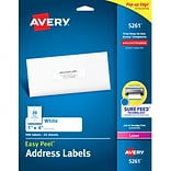 Avery Easy Peel Laser Address Labels, 1 x 4, White, 20 Labels/Sheet, 25 Sheets/Pack (5261)