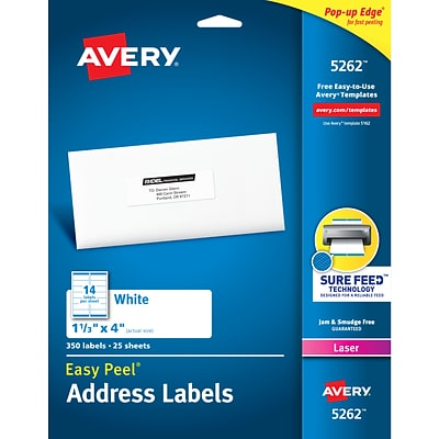 Avery Easy Peel Laser Address Labels, 1 1/3 x 4, White, 14/Sheet, 25 Sheets/Pack (5262)