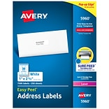 Avery Easy Peel Laser Address Labels, 1 x 2 5/8, White, 7500/Box (5960)