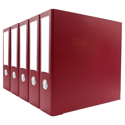 Bindertek 3-Ring 3-Inch Premium Binder 5-Pack, Brick Red (3EFPACK-BR)