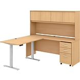 Bush Business Furniture Studio C 71 L-Shaped Desk with Hutch and Storage, Natural Maple (STC018ACSU