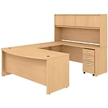 Bush Business Furniture Studio C 71 U-Shaped Desk with Hutch and Mobile File Cabinet, Natural Maple