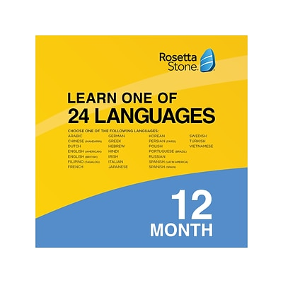 Rosetta Stone Learn One of 24 Languages for 1 User, Windows/Mac/Android/iOS, Online Access (91182US)
