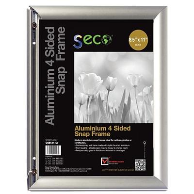 Seco® Front Load Easy Open Snap Poster Frame, 8.5 x 11, Silver Anodised Aluminium (SN8511-SV)