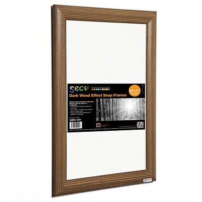 Seco® Front Load Easy Open Snap Poster Frame, 8.5 x 11, Dark Wood Effect (SN8511DW)