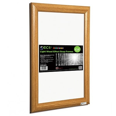 Seco® Front Load Easy Open Snap Poster Frame, 24 x 36, Light Wood (SN2436LW)